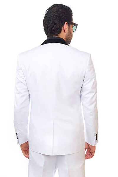 Slim Fit Men Suit / Tuxedo White 1 Button Shawl Velvet Lapel White By Azar Man
