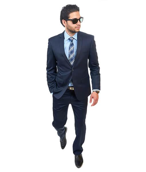 Slim Fit 2 Button Solid Navy Blue Suit - Azar Suits