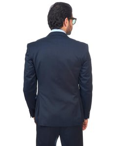 Slim Fit Men Suit 2 Button Navy Blue Notch Lapel Flat Front Pants By Azar Man