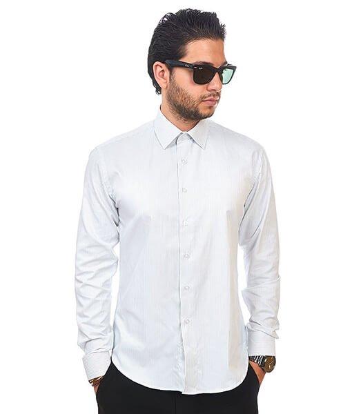 New Mens Dress Shirt Narrow Stripe White Tailored Slim Fit Wrinkle Free By Azar Man
