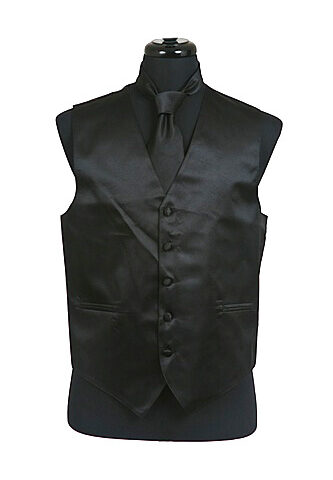 Black Satin Vest