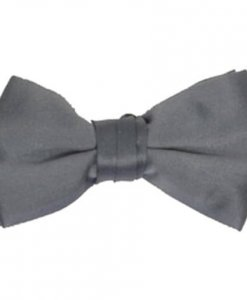 Charcoal Satin Bowtie