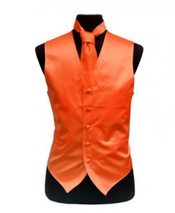 Orange Satin Vest