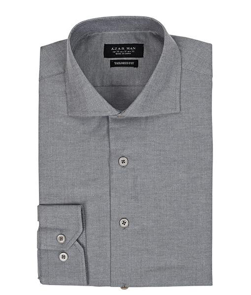 Azar Suits Grey Extra Spread Shirt