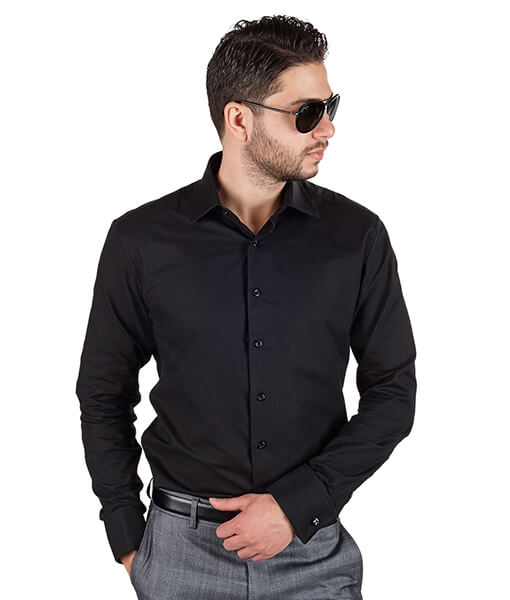 Black french cuff slim fit dress shirt azar suits for French cuff slim fit dress shirt