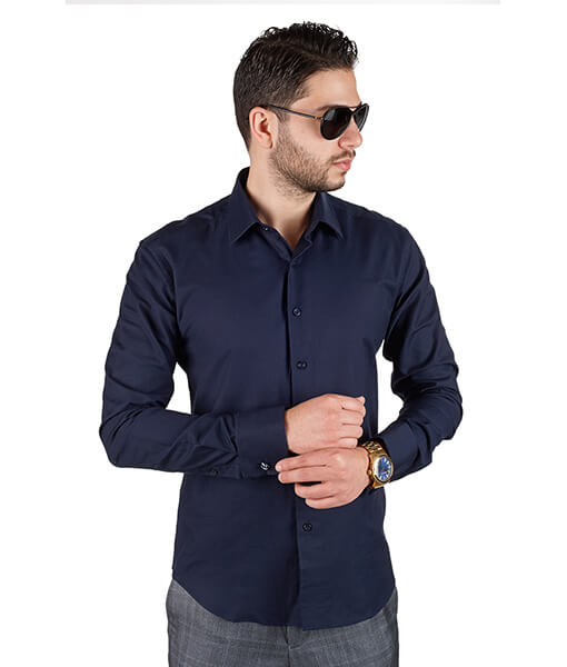 Azar Suits Navy Blue French Cuff