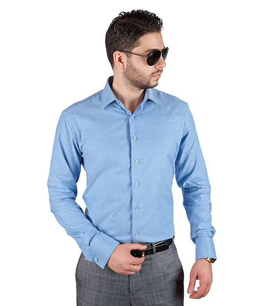 Blue french cuff tailored slim fit dress shirt azar suits for French cuff slim fit dress shirt