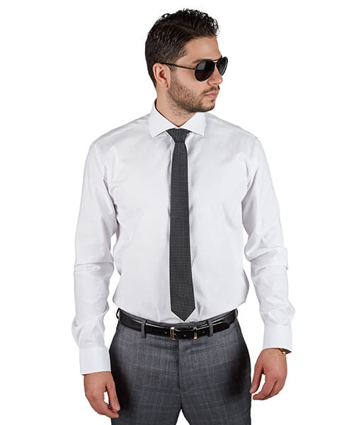 White Extra Spread Collar Slim Fit Dress Shirt - Azar Suits