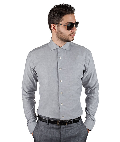Azar Suits Grey Extra Spread Shirt