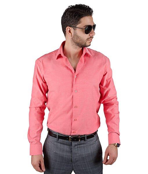 Unique Coral Tailored Slim Fit Dress Shirt - Azar Suits
