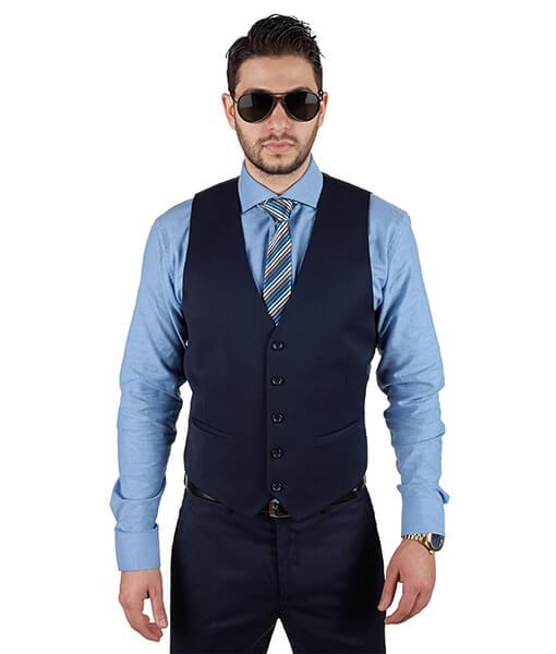 AzarSuits Navy Blue Satin Vest