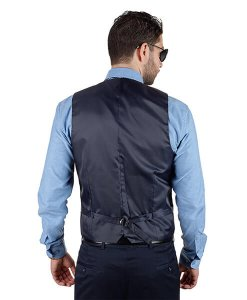 AzarSuits Navy Blue Satin Vest