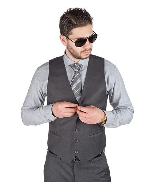 AzarSuits Grey Satin Vest
