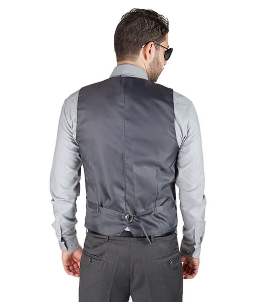 AzarSuits Grey Satin Vest
