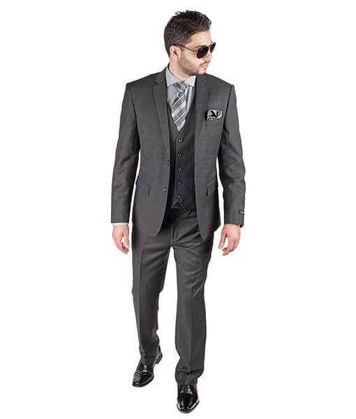 Slim Fit Men 3 Piece Vested Charcoal Grey Suit - Azar Suits