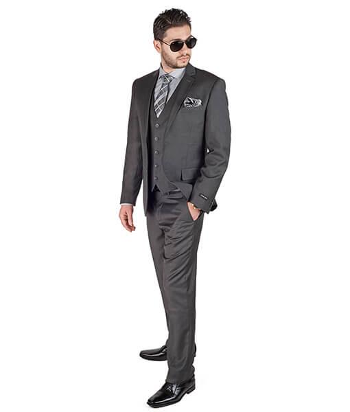 Slim Fit Men 3 Piece Vested Charcoal Grey Suit - Azar Suits
