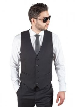 AzarSuits Black Satin Vest