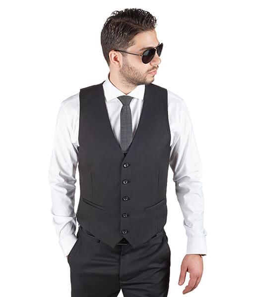 AzarSuits Black Satin Vest
