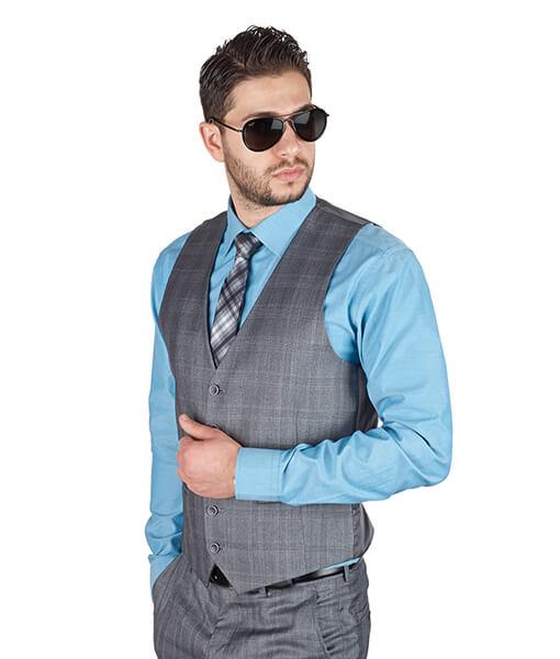 AzarSuits Plaid Grey Vest