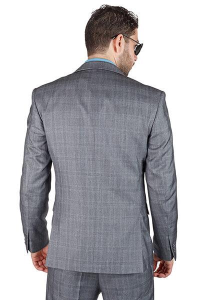 AzarSuits 3pc Plaid Grey Suit