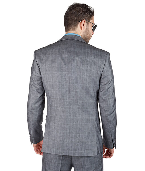 AzarSuits 3pc Plaid Grey Suit