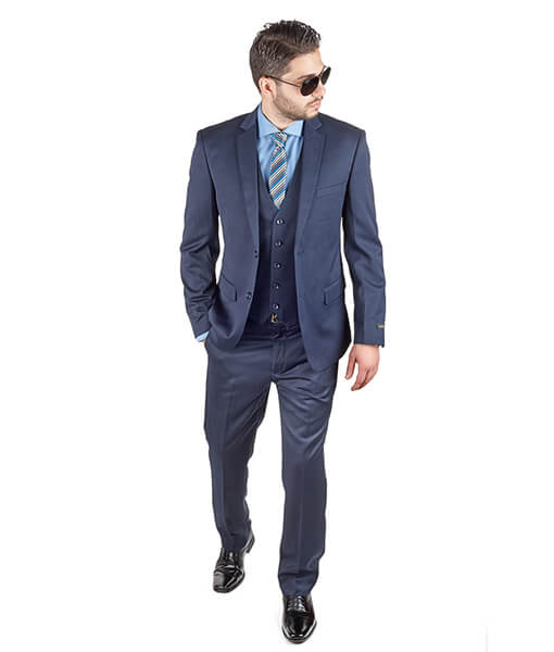 AzarSuits 3pc Navy Blue Suit
