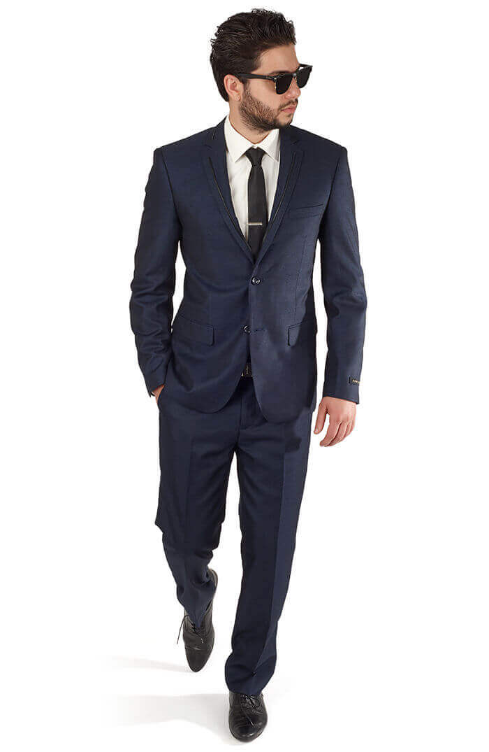 b2bf5ae8bd1 Slim Fit Men 2 Button Trim Collar Navy Blue Suit / Tuxedo - Azar Suits
