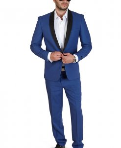 Slim Fit 1 Button Indigo Blue Suede Shawl Collar