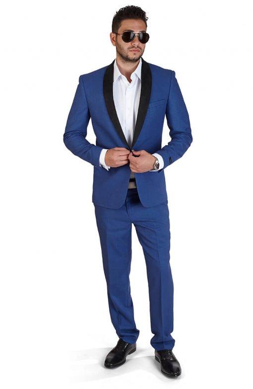 Slim Fit 1 Button Indigo Blue Suede Shawl Collar