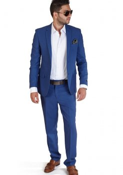 Slim Fit 2 Button Indigo Blue Suit