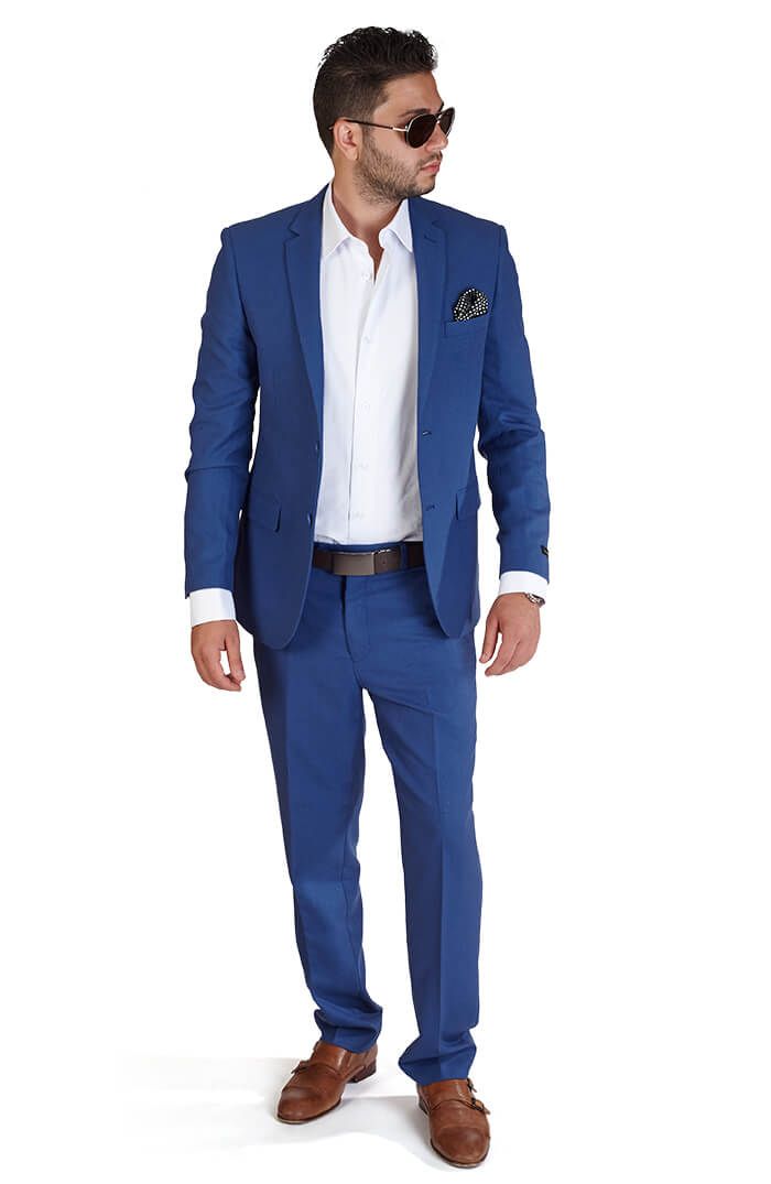Slim Fit 2 Button Indigo Blue Suit - Azar Suits