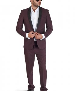 Slim Fit 1 Button Burgundy Suede Shawl Collar
