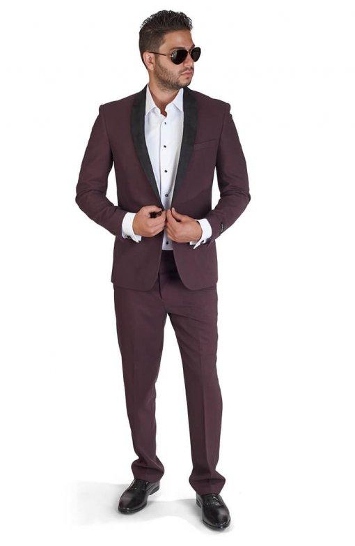 Slim Fit 1 Button Burgundy Suede Shawl Collar