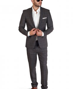 Slim Fit 2 Button Grey Windowpane Peak Lapel Suit