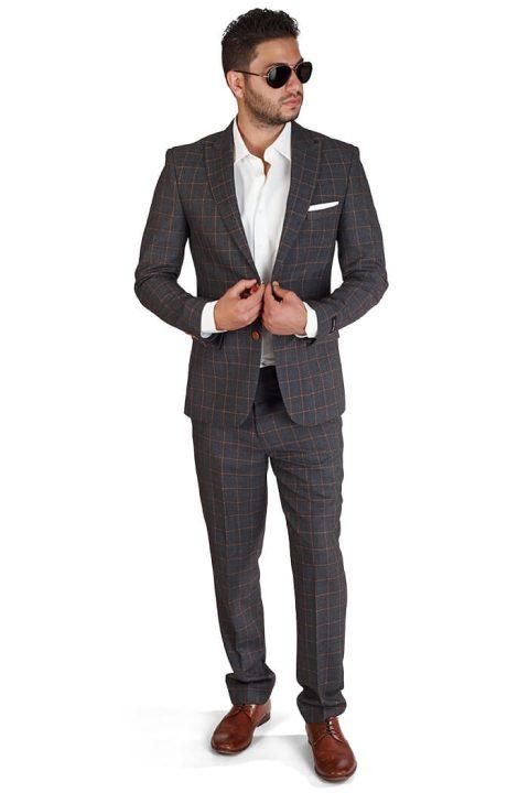 Slim Fit 2 Button Grey Windowpane Peak Lapel Suit