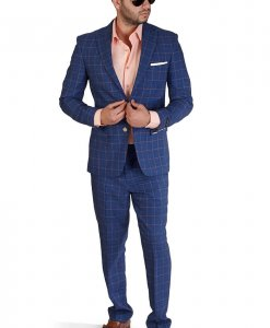 Slim Fit 2 Button Indigo Blue Windowpane Peak Lapel Suit