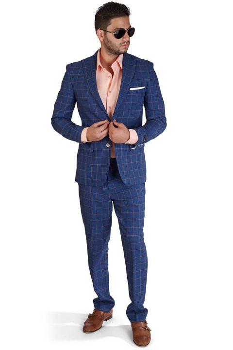 Slim Fit 2 Button Indigo Blue Windowpane Peak Lapel Suit
