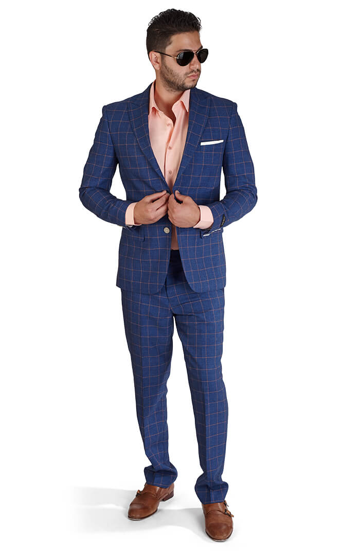 Slim Fit 2 Button Indigo Blue Windowpane Peak Lapel Suit - Azar Suits