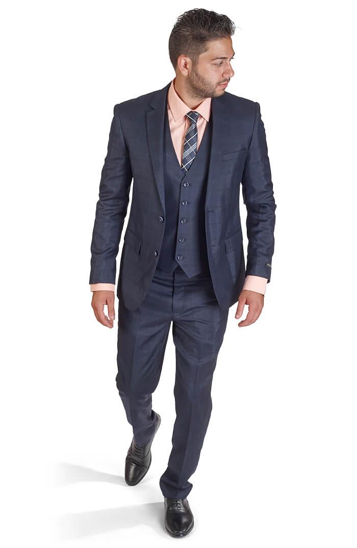 Slim Fit Men 3 Piece Vested Plaid Navy Blue Suit Azar Suits