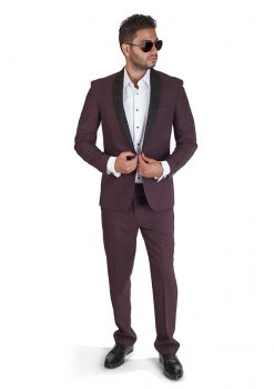 Slim-Fit-1-Button-Burgundy-Suede-Shawl-Collar-1