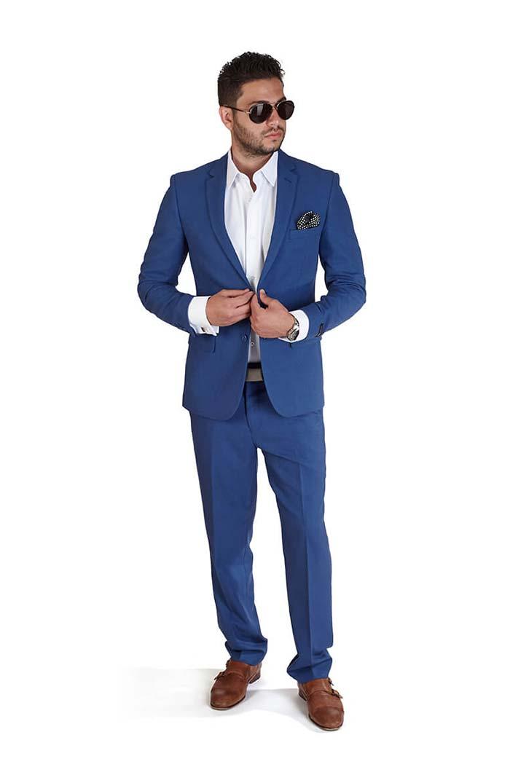 Slim Fit Men Suit Indigo Blue 2 Button Notch Lapel Double Vents By AZAR MAN
