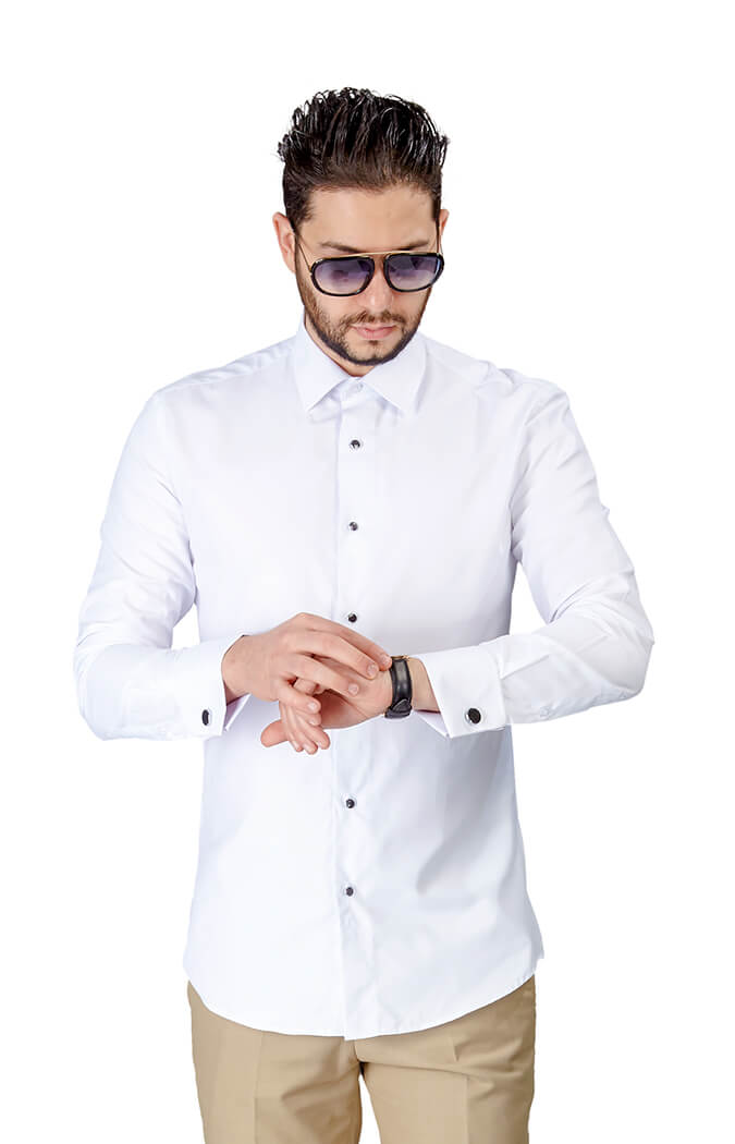 Slim fit white tuxedo french cuff herringbone textured White french cuff shirt slim fit