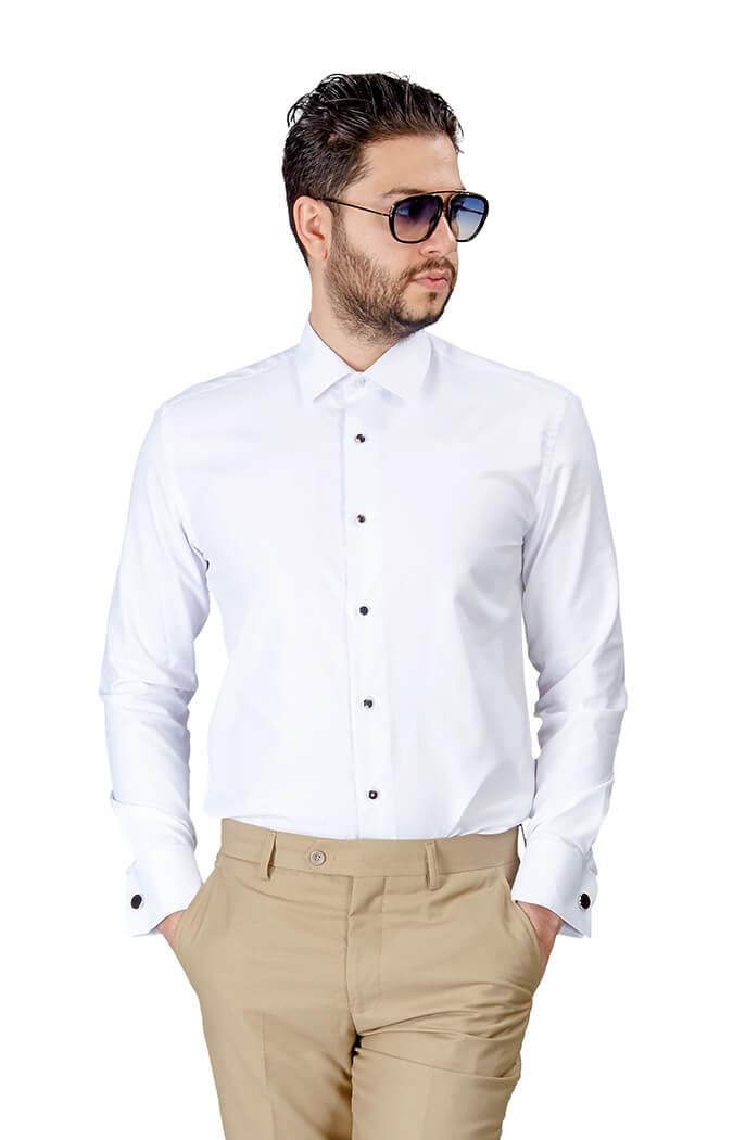 074b096ec2 Slim Fit White Tuxedo French Cuff Herringbone Textured Shirt
