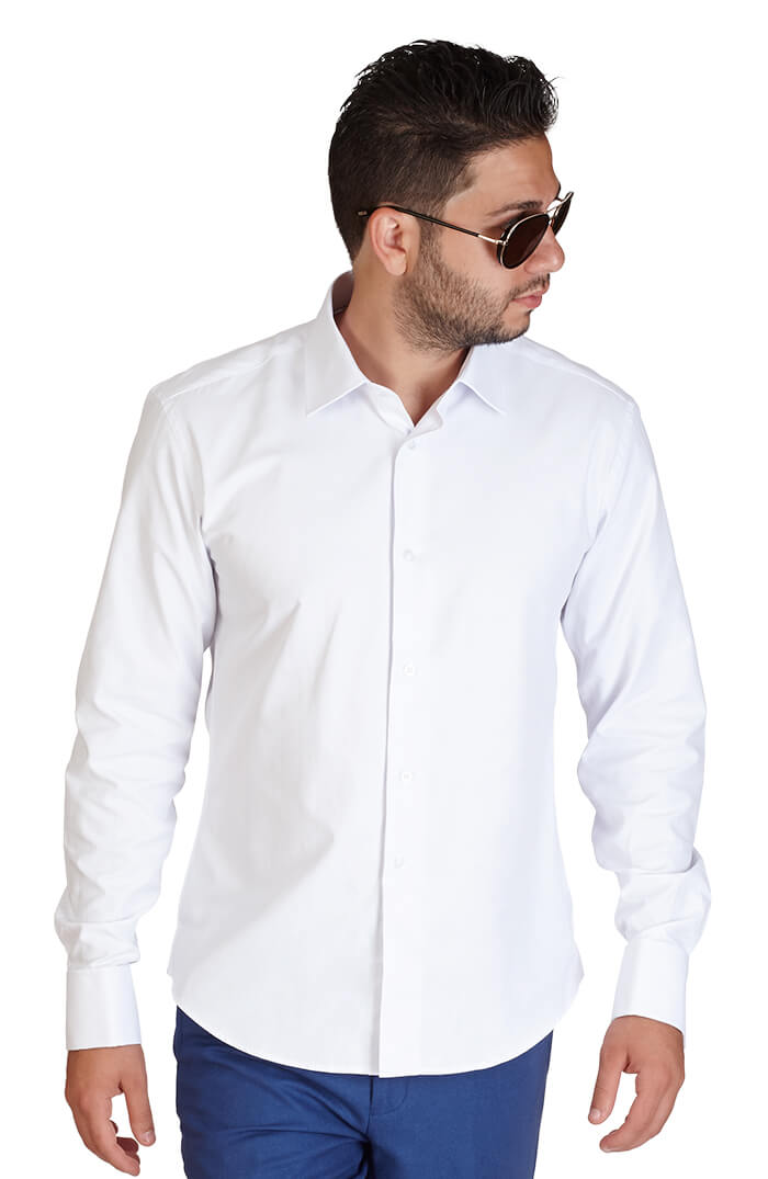 Slim fit white french cuff herringbone textured azar suits White french cuff shirt slim fit