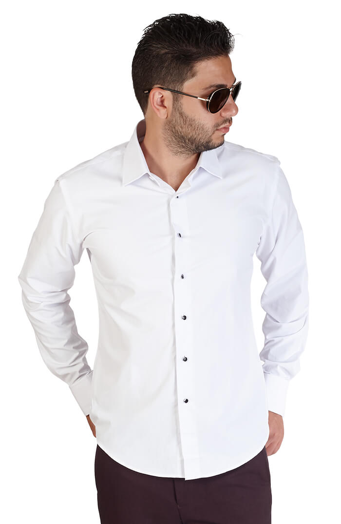 Slim fit white spread collar french cuff tuxedo azar suits White french cuff shirt slim fit