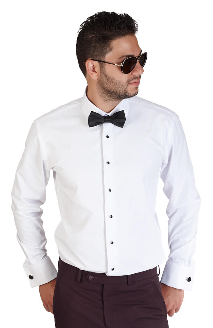 Slim Fit White Spread Collar French Cuff Tuxedo Azar Suits
