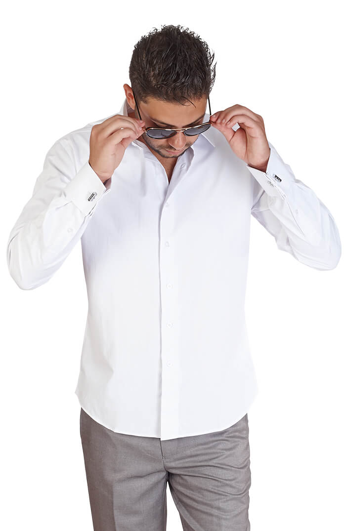 Slim fit white french cuff tone on tone stripe azar suits White french cuff shirt slim fit