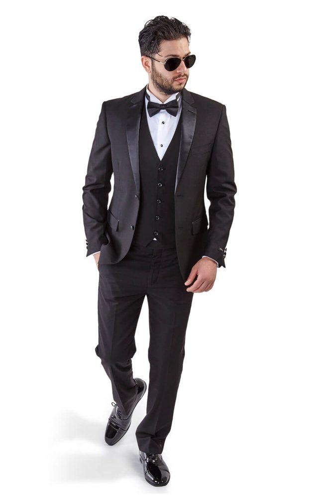 625ff8bc Slim Fit 2 Button 3 Piece Vested Black Tuxedo - Azar Suits