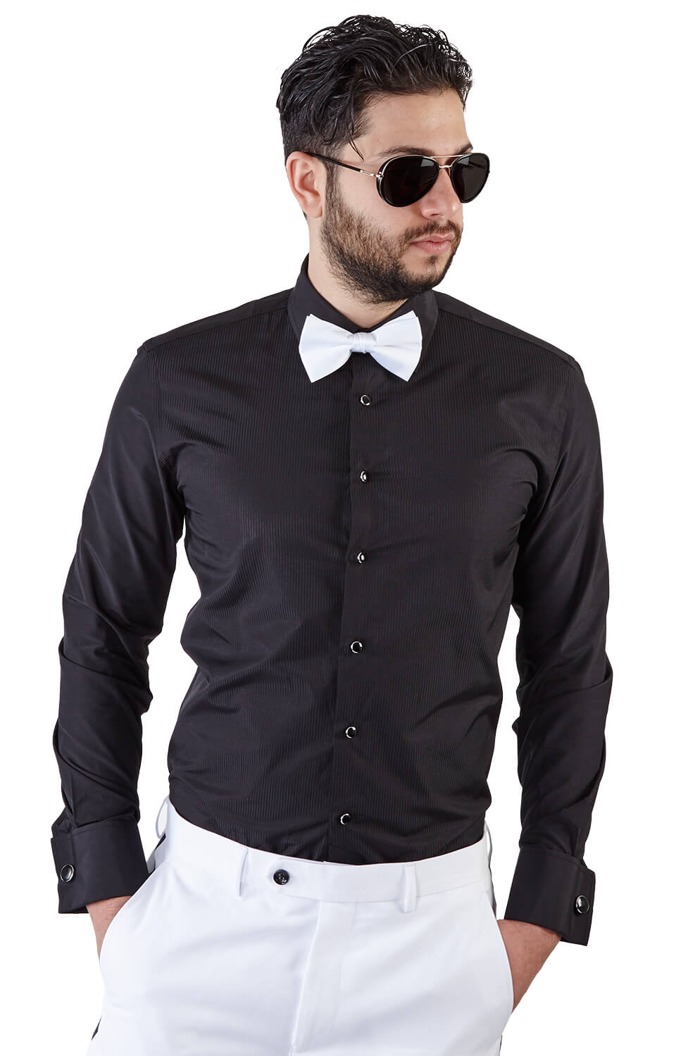 Slim fit black french cuff tuxedo shirt azar suits for Black tuxedo shirt for men