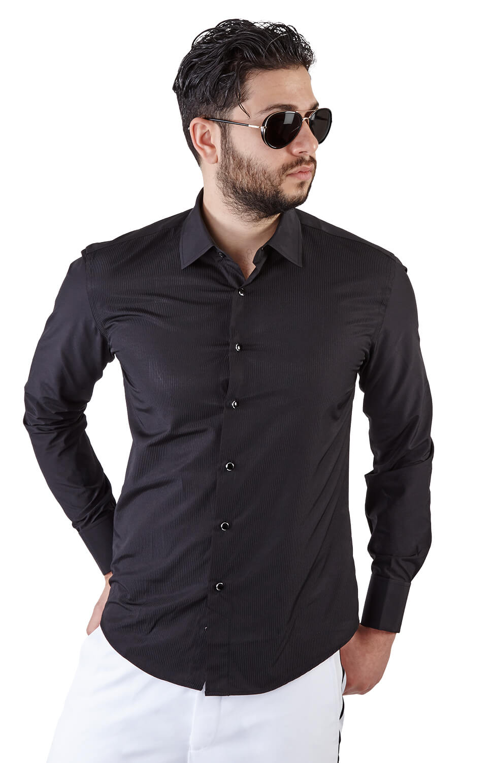 Slim fit black french cuff tuxedo shirt azar suits for Dinner shirts slim fit